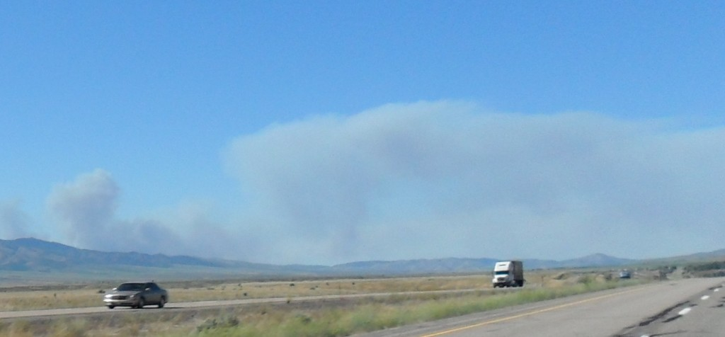 Pocatello fire viewed from 30 miles to the south.