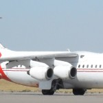 BAe 146 Neptune Aviation tanker 41 taxis in Pocatello Airport, 11 September 2012.