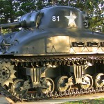 Second World War era M4 Sherman chemical (flamethrower) tank.