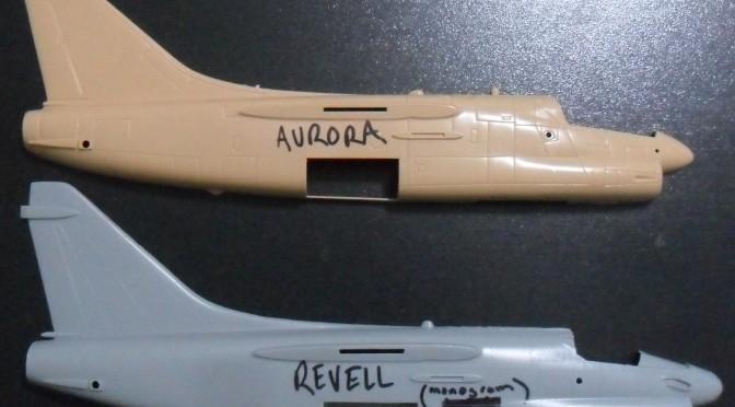1/48 scale comparison A-7 Corsair 2: Aurora, Revell-Monogram