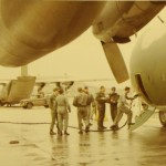 1971: Preppin' for our first C-130 trip, Rhein Main AFB, Germany. You might be able to make out my younger sister's (Tina) head in lower right corner.